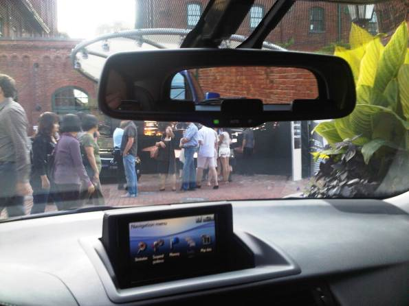 Lexus CT 200h Pop-up Info Center & Rearview Window viewed from Rearview Mirror