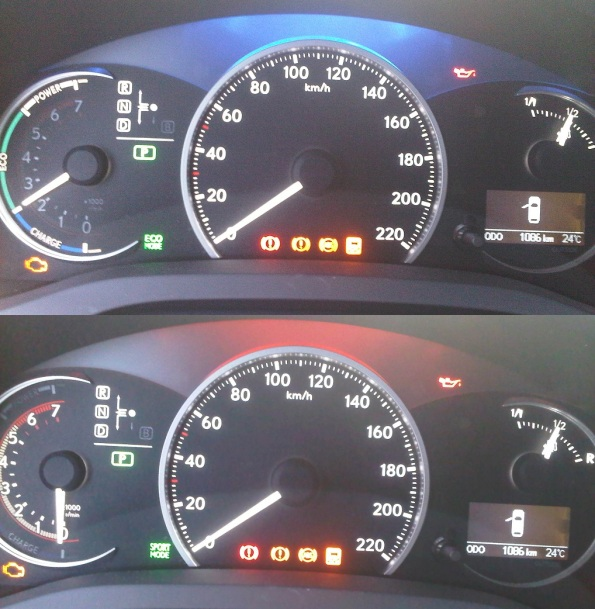 The display of the dashboard even changes and light up a different color when it is one mode vs the other. Blue for Eco (top) and Red for Sport (Bottom).
