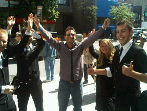 Me with the @BlackBerryScene Team @ Yonge & St Clair Toronto after I won my 9800 Torch (that's what the card in my right hand is).