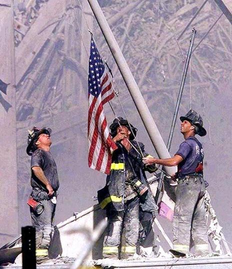 I have loved and always will love this picture of the heroes of the FDNY erecting a flag at Ground Zero