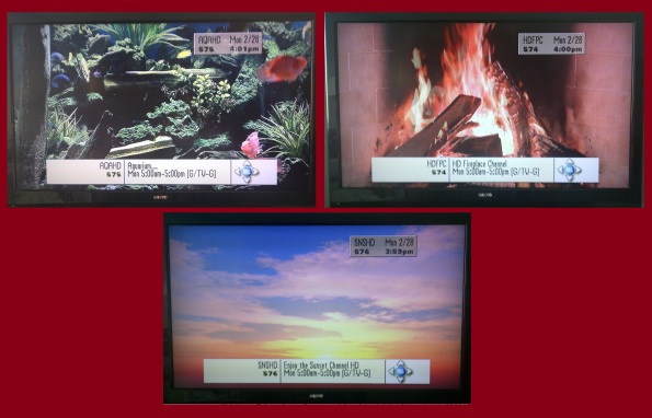 Aquarium Channel HD, Fireplace Channel HD, & Sunset Channel HD. Now that's some quality HD programming!