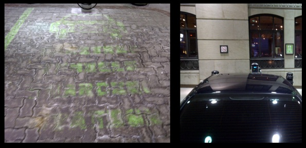 LEFT: The ChargePoint Spot is marked with special green paint. Unfortunately the lettering was already rubbed out. RIGHT: A non electric vehicle parked by the valet in front of the ChargePoint for lack of a better use for the spot.