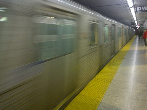 Subway train entering TTC Osgoode Station, April 7, 2011 in Toronto.