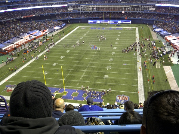 The NFL Buffalo Bills playing a regular season game at the Rogers Centre, Novemeber 7, 2010. Photo taken from Level 500.