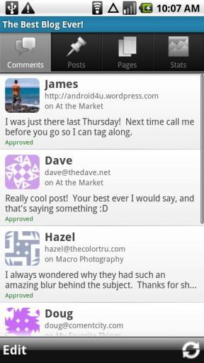 WordPress for Android app screenshot