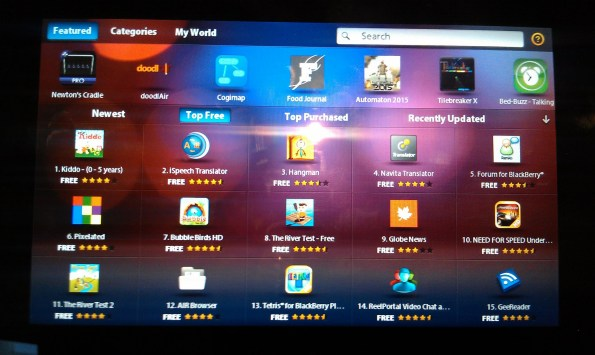 BlackBerry PlayBook App World Top Free Apps