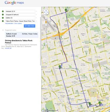 EPIC Social Media Day Toronto 2011 Missions (approximate route).