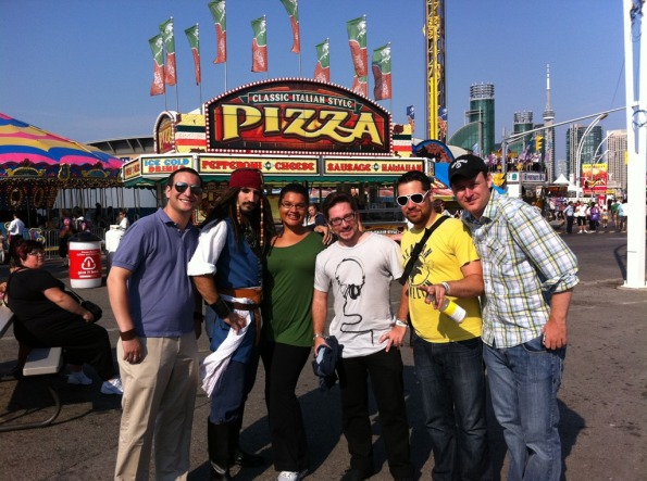 "At The Ex aka the CNE with @iamjazzy, @pshag, @michaelnus, @aplusadvantage & ""Captain Jack Sparrow"". Photo via @pshag"