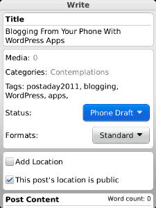wordpress for blackberry writing screen torch 9800 phone draft