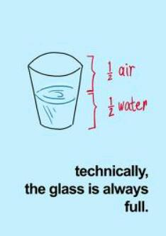 technically the glass is always full (1/2 air, 1/2 liquid)