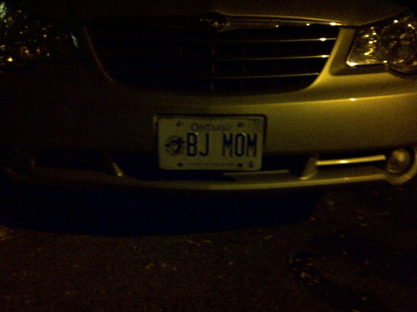 BJ Mom Ontario License Plate