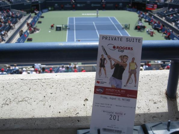 #RogersCup 2011 ticket with court in the background