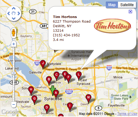 Tim Hortons Syracuse New York Map