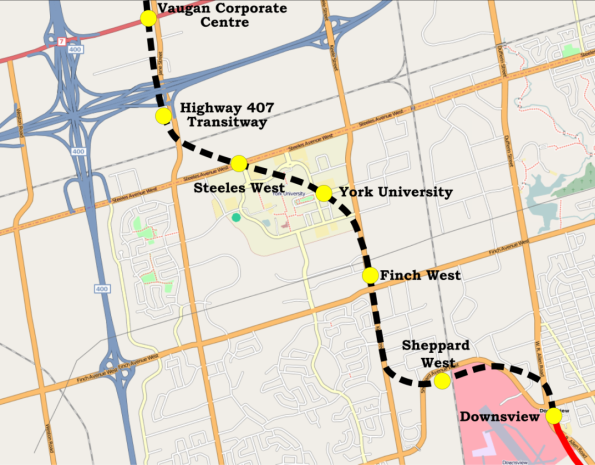 TTC Yonge-University-Spadina_extenstion_map via Wikipedia at http://en.wikipedia.org/wiki/File:Yonge-University-Spadina_extenstion_map.png