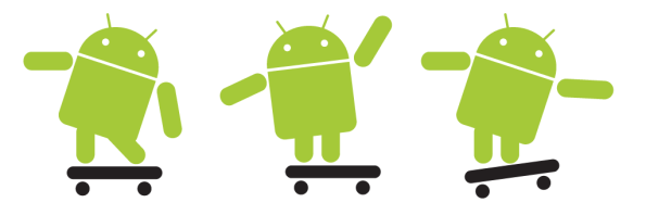 androids on skateboards