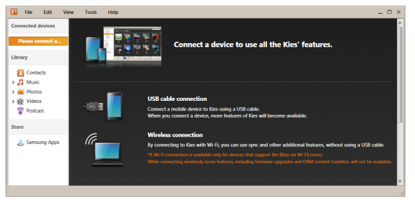 Samsung KIES for PC Android Desktop Manager screenshot