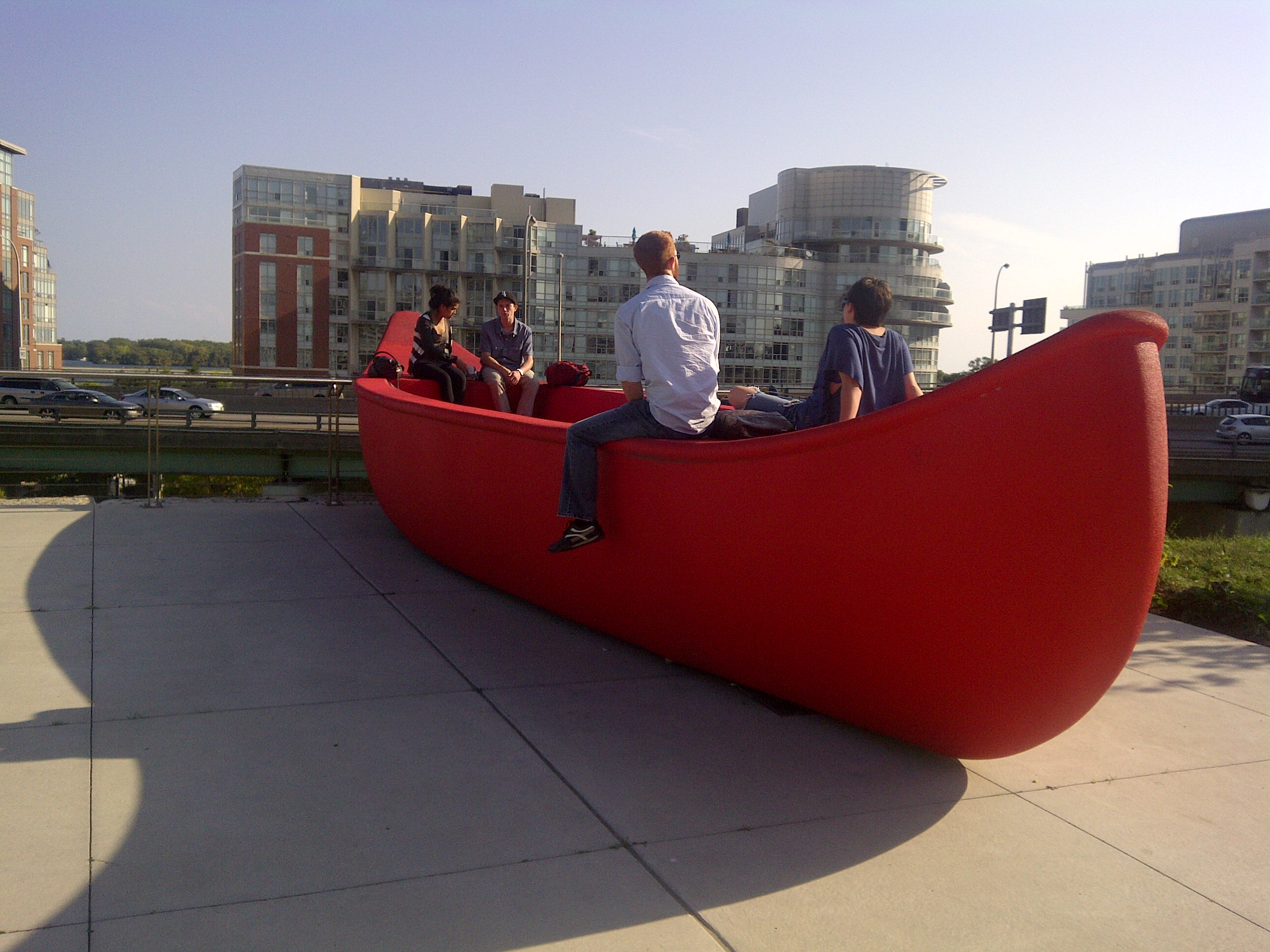 Big red canoe at canoe landing park exploring toronto for The big canoe