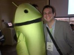 Me with the Rogers Android mascot at #AndroidTO...after our fight we made up and decided to hug it out.