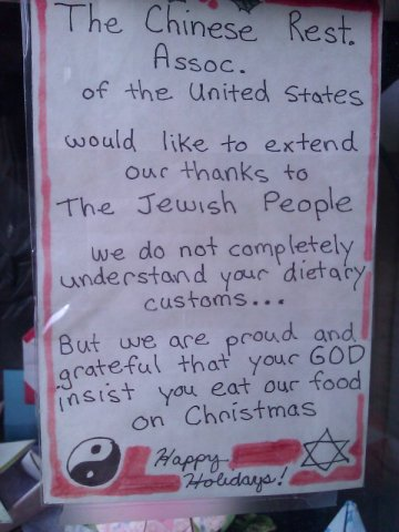 chinese restaurant note thanks Jews for eating on christmas