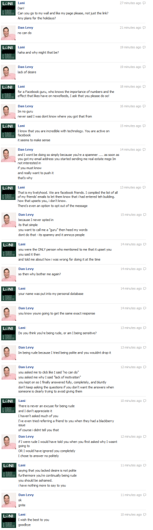Conversation with a Facebook & Email Spammer