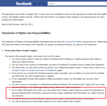 Facebook Statement of Rights and Responsibilities 5.7 highlighted