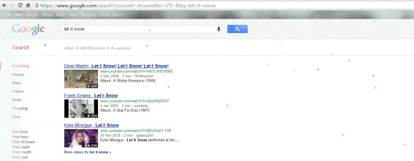 Google Holiday Egg Let It Snow start