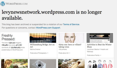 LNN Suspended by WordPress Screen Shot 2011-12-14 via @CasieStewart