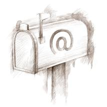 Sketched Mailbox with @ email MC900341788 via Microsoft Office