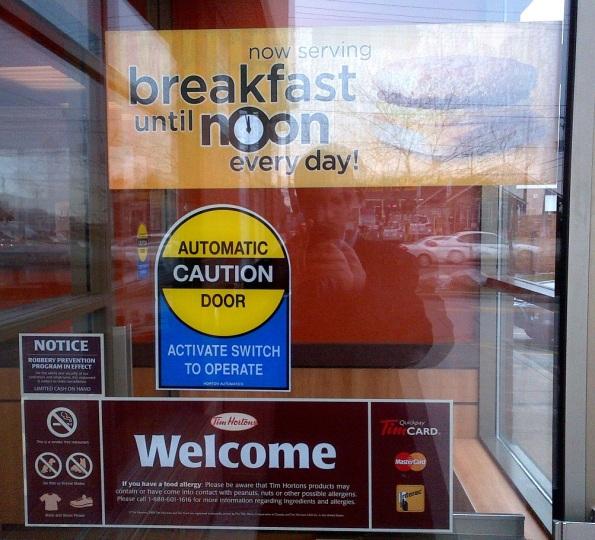 Tim Hortons Breakfast Noon Sign Door Toronto