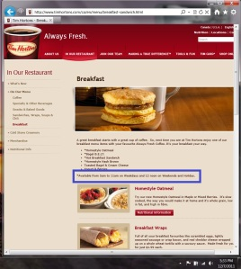 Tim Hortons Breakfast site unchanged