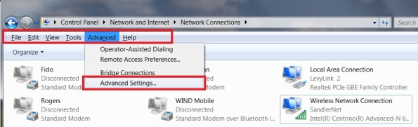 Windows 7 Network Connections Advanced Settings in Menu toolbar