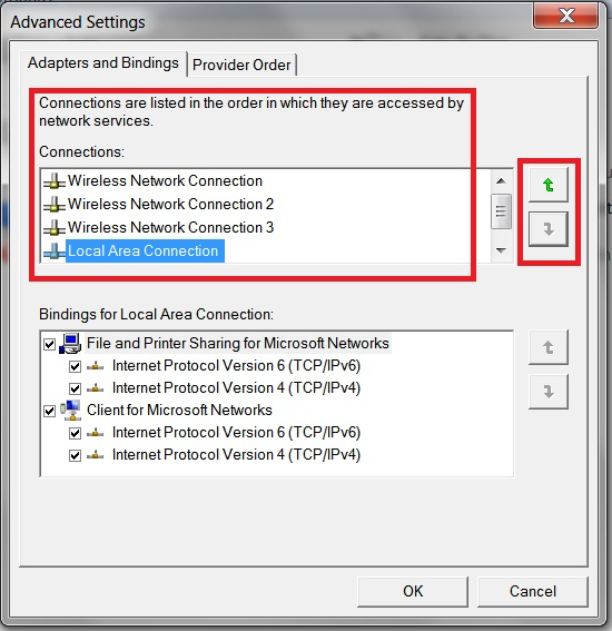 Windows 7 Network Connections Advanced Settings Window