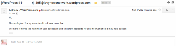 WordPress apology email for mistakenly taking my blog down