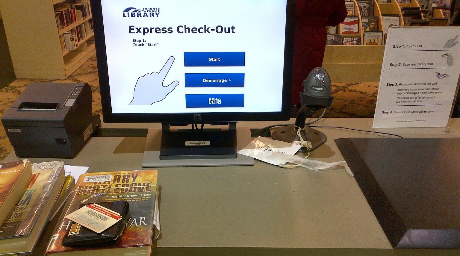 rfid self checkout at toronto public library s barbara frum branch