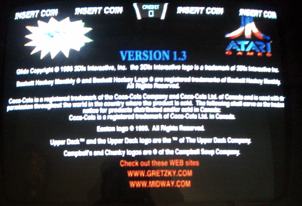 Check Out These WEB sites old arcade game screen 1996 Wayne Gretzky's 3D Hockey