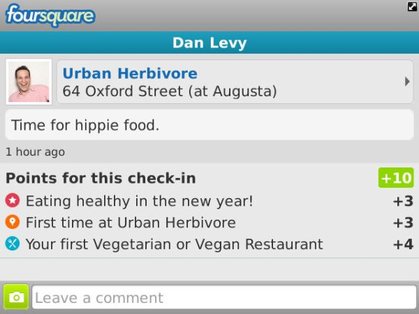 Urban Herbivore Foursquare Checkin screen 2012-01-02 14.46.00