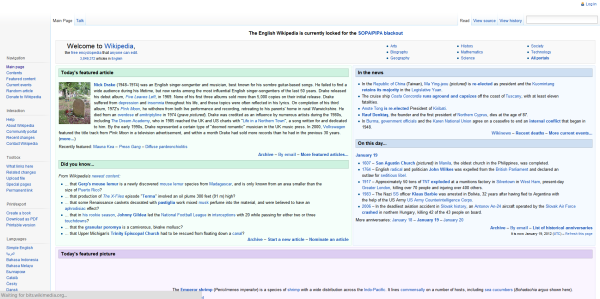 Wikipedia SOPA before redirect