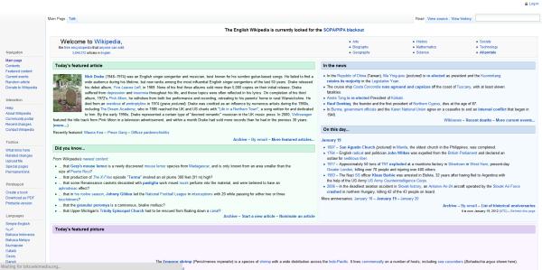 Wikipedia SOPA before redirect
