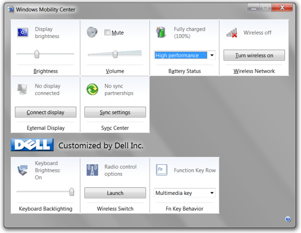 Windows Mobility Center Windows 7 Home Premium (Dell)