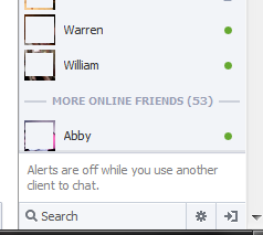 Facebook Chat Alerts are off while you use another client to chat