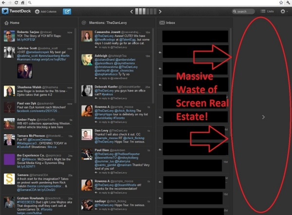 TweetDeck Chrome Wasted Space Column
