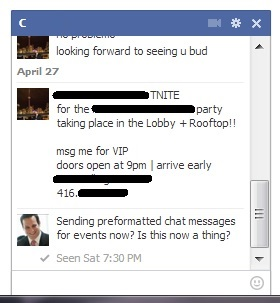 Facebook Messenger Preformatted Promoter Chat Message