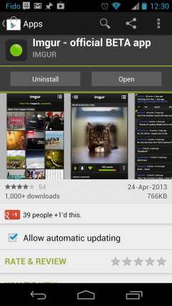 Official Imgur Android BETA Google Play Canada