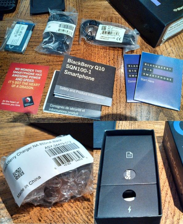 TELUS BlackBerry Q10 In Box items