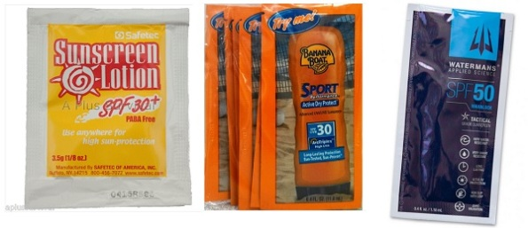 Various brands of sunscreen in single use packets