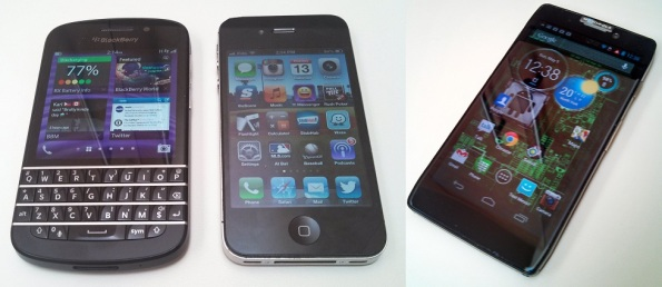 BlackBerry Q10, iPhone 4S, and Motorola RAZR HD LTE in a line