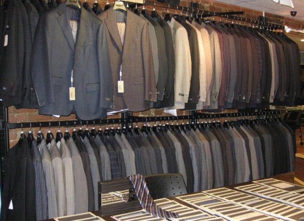Suits for men in Korry's Clothiers Toronto store