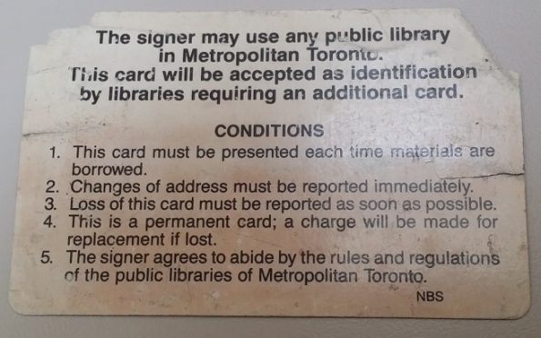 North York Public Library Card Metropolitan Toronto Back