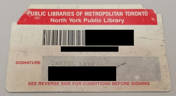 North York Public Library Card Metropolitan Toronto Front