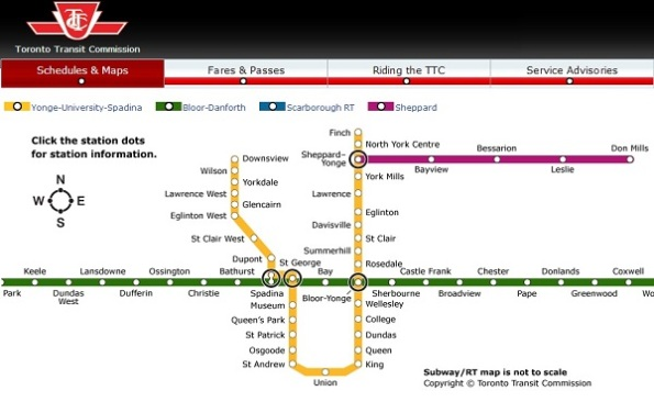 TTC Map via TTC.ca